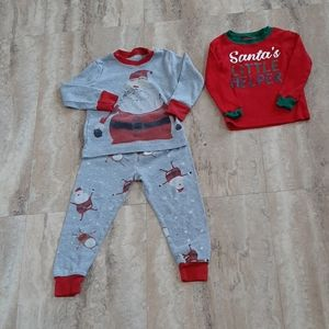 3/$15 Santa lot of pajama set & santa helper shirt